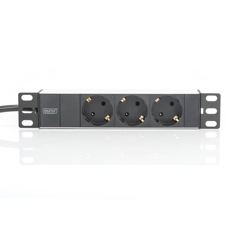 Digitus Proffesional DN-95411 Aluminum PDU, 10 rack mount, 3 safety outlets, 2 m