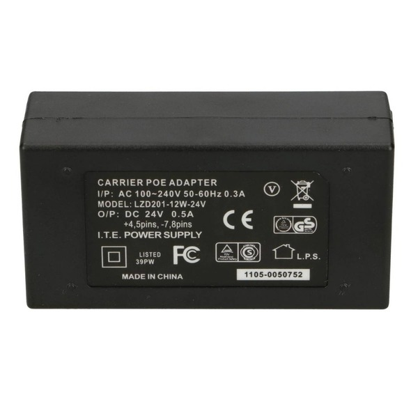 PoE adapter 24V 12W 0.5A with AC Cable
